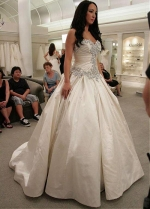 Amazing Taffeta Sweetheart Neckline Ball Gown Wedding Dresses With Beaded Embroidery