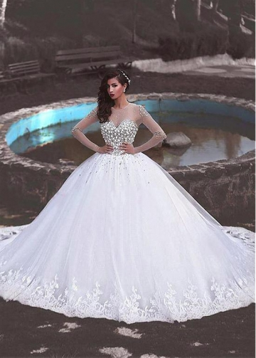 Junoesque Tulle Jewel Neckline Ball Gown Wedding Dress With Lace Appliques & Beadings