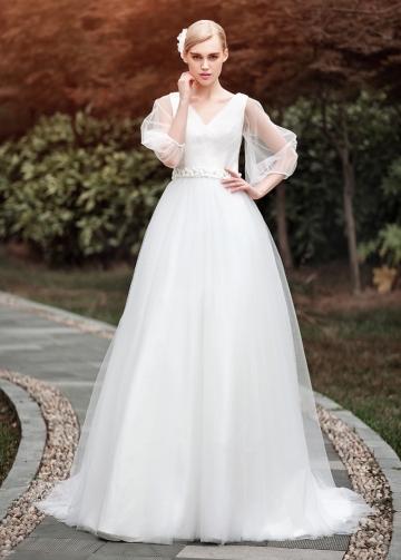 Glamorous Tulle V-neck Neckline A-line Wedding Dresses