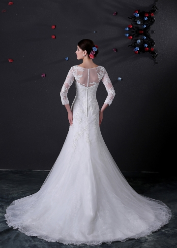 Charming Tulle Bateau Neckline Mermaid Wedding Dress With Beaded Lace Appliques