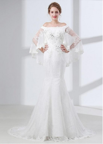 Delicate Lace & Satin Off-the-shoulder Neckline Mermaid Wedding Dress With Beadings