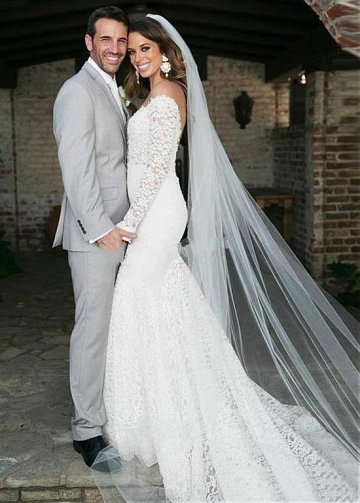 Amazing Tulle & Lace Sheer Jewel Neckline Mermaid Wedding Dress With Beaded Lace Appliques