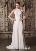 Elegant Lace & Chiffon High Collar Neckline A-line Wedding Dresses