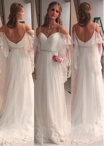 Glamorous Tulle & Satin Spaghetti Straps Neckline A-Line Wedding Dresses With Lace Appliques