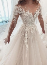 Alluring Tulle Jewel Neckline A-line Wedding Dresses With Lace Appliques & 3D Flowers & Beadings