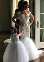Modest Tulle Jewel Neckline Mermaid Wedding Dresses With Beaded Lace Appliques