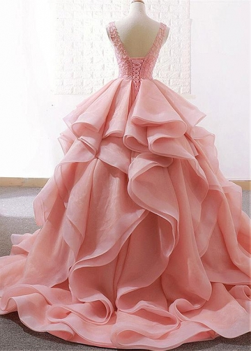 Alluring Lace & Organza Satin Jewel Neckline Ball Gown Wedding Dresses With Beadings