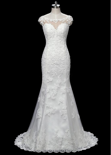 Stunning Tulle Bateau Neckline Mermaid Wedding Dresses With Beaded Lace Appliques