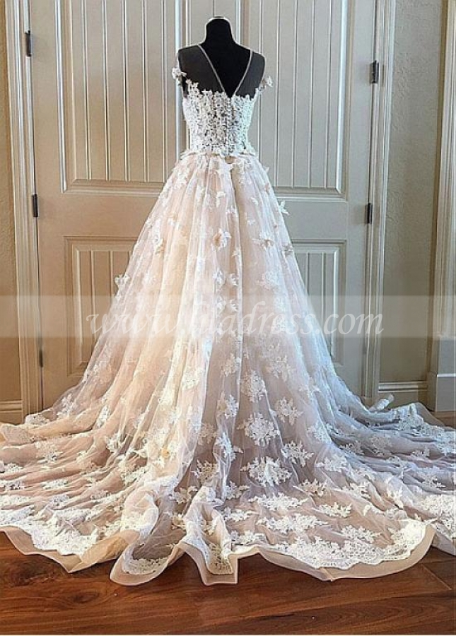 Modest Tulle Jewel Neckline Floor-length A-line Wedding Dresses With Beaded Handmade Flowers & Lace Appliques