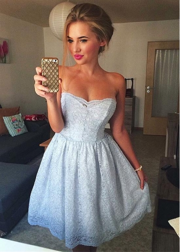 Beautiful Lace Strapless Neckline Short A-line Homecoming Dress