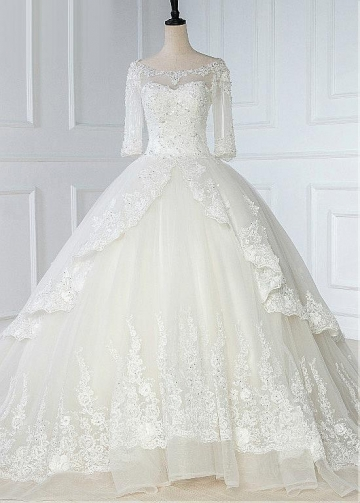 Glamorous Tulle Bateau Necklone Ball Gown Wedding Dress With Lace Appliques & Beadings