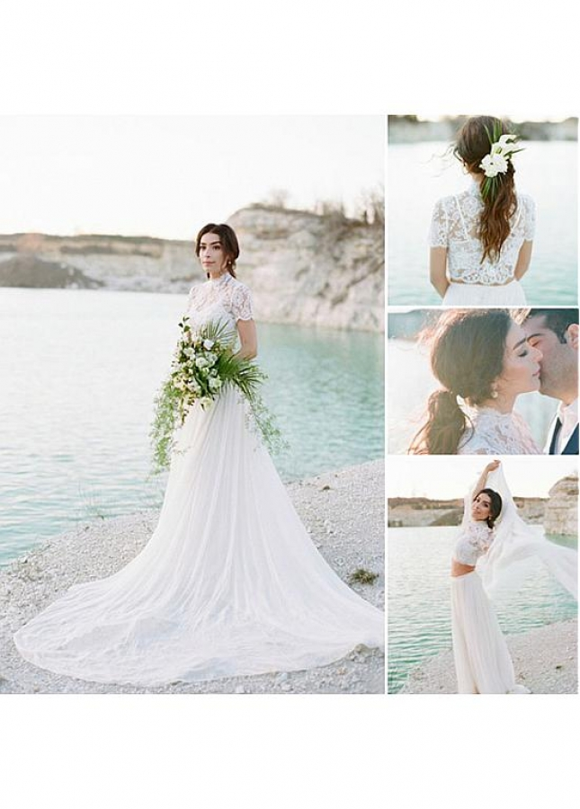 Wonderful Tulle Illusion High Collar Two-piece A-line Wedding Dress With Lace Appliques