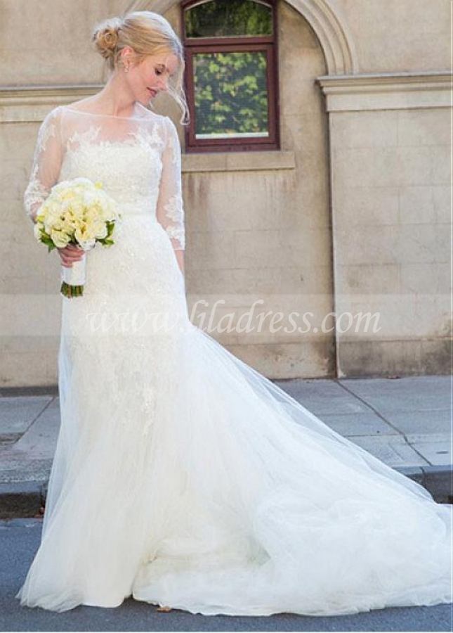 Gorgeous Tulle Bateau Neckline Mermaid Wedding Dress With Lace Appliques