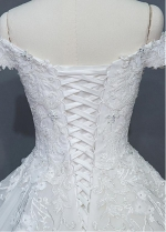 Junoesque Tulle Off-the-shoulder Neckline A-line Wedding Dress With Beaded Lace Appliques