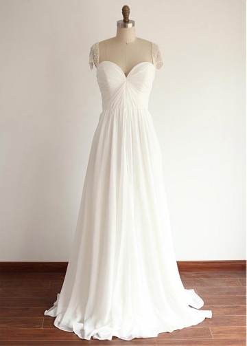 Glamorous Tulle & Chiffon Sweetheart Neckline Full Length A-line Wedding Dresses With Beadings