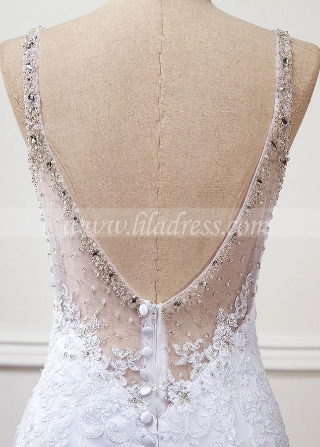 Wonderful Tulle & Organza Spaghetti Straps Neckline Natural Waistline Mermaid Wedding Dress With Lace Appliques & Beadings