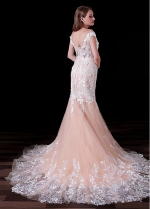Eye-catching Tulle Bateau Neckline Cap Sleeves Floor-length Mermaid Wedding Dresses With Lace Appliques