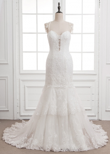 Junoesque Tulle & Lace Sweetheart Neckline Mermaid Wedding Dress With Lace Appliques & Beadings