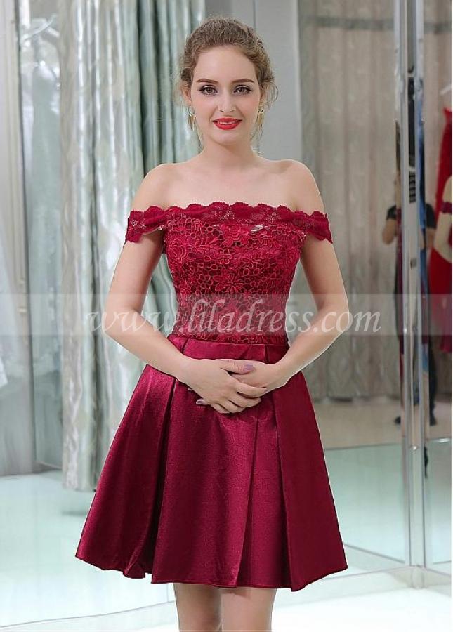 Lace & Satin Off-the-shoulder Neckline Short Length A-line Cocktail Dresses