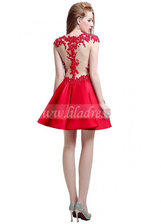 Stunning Satin & Tulle Jewel Neckline Cap Sleeves Short A-line Homecoming Dresses