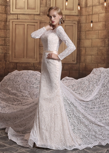 Gorgeous Lace Scoop Neckline Mermaid Wedding Dresses