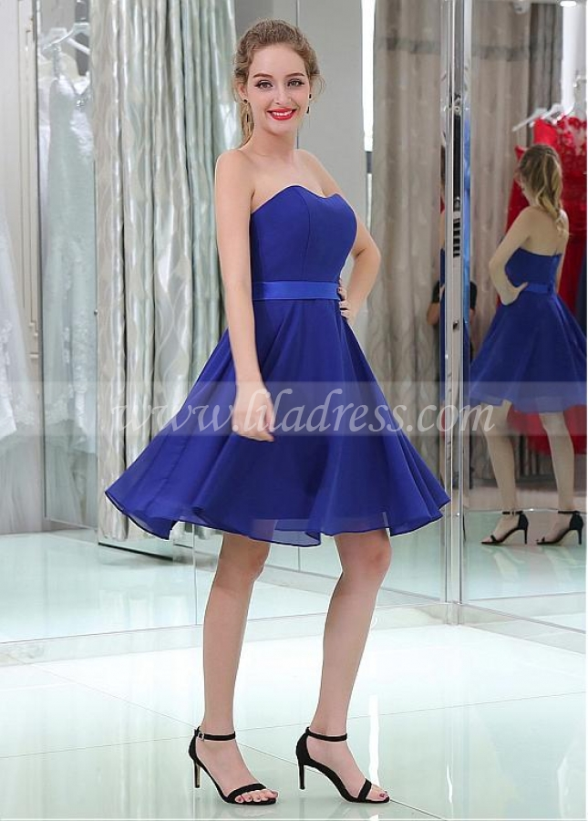 Modern Chiffon Strapless Neckline Short Length A-line Cocktail / Bridesmaid Dresses