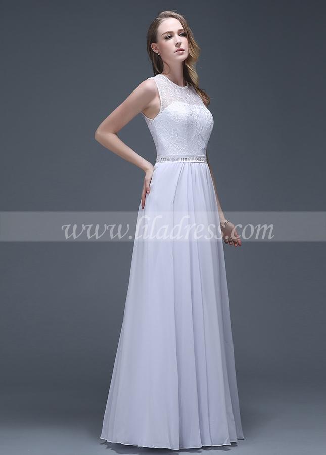 Elegant Chiffon Jewel Neckline A-line Wedding Dresses