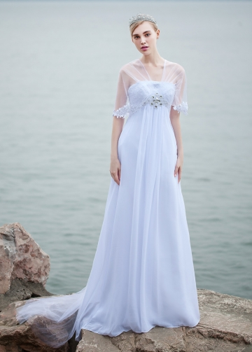 Elegant Chiffon V-neck Neckline A-line Wedding Dresses With Lace Appliques