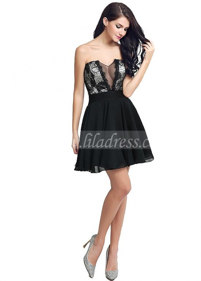 Exquisite Chiffon & Lace Sweetheart Neckline See-through Short-length A-line Cocktail Dresses