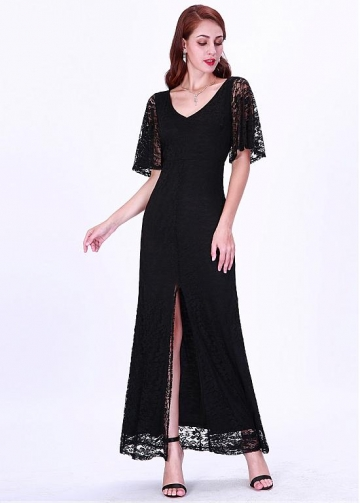 Elegant Lace V-neck Neckline Mermaid Evening Dresses