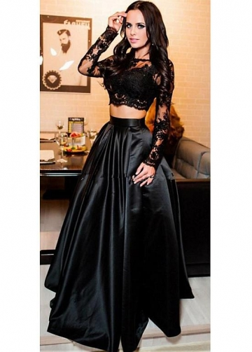 Excellent Satin Scoop Neckline Long Sleeves Two-piece A-line Evening Dress With Beaded Lace Appliques