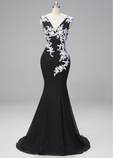 Stunning Lace & Chiffon V-neck Neckline Cap Sleeves Mermaid Evening Dresses