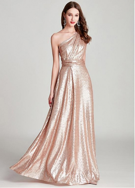 Romantic Sequins One Shoulder Neckline Floor-length A-line Formal Dress