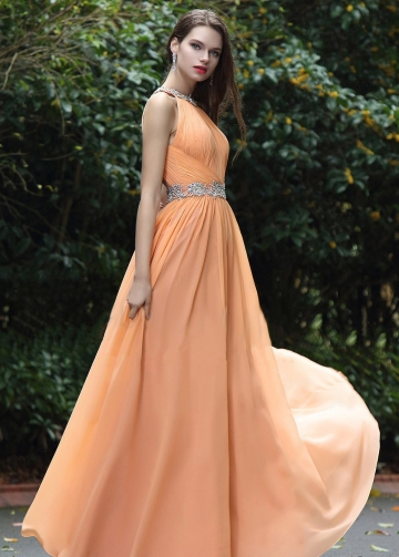 Orange Chiffon Floor Length Rhinestones Prom Dresses with Hollow Back