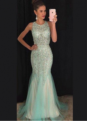 Delicate Tulle Jewel Neckline Mermaid Evening Dresses With Beadings