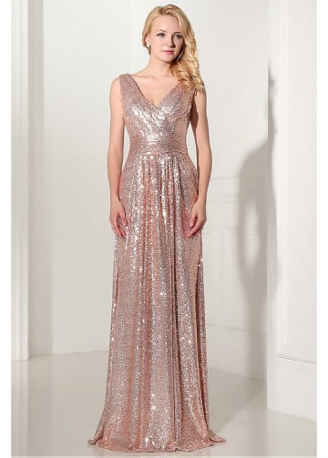 Charming Sequin V-neck Neckline Sheath Evening Dresses