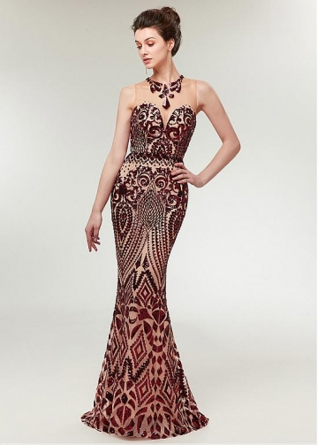 Sparkling Sequin Jewel Neckline Mermaid Evening Dress