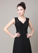 Elegant Chiffon & Lace V-neck Neckline A-line Bridesmaid Dress