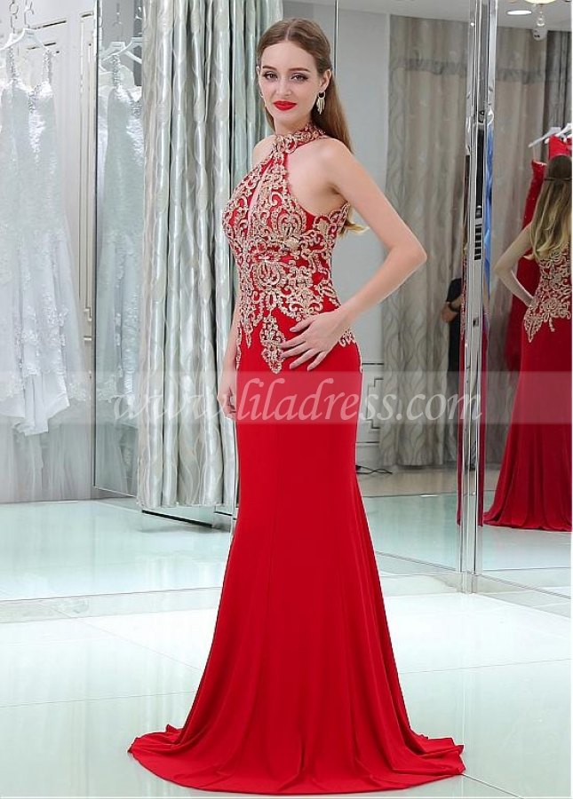 Glamorous Red Cut-out Mermaid Evening Dresses With Lace Appliques & Hot Fix Rhinestones