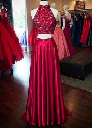 Alluring Silk Like Satin High Collar Neckline Two Piece A-line Prom Dresses With Beadings