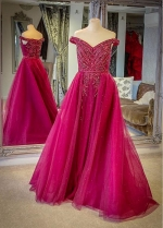 Glamorous Tulle Off-the-shoulder Neckline Floor-length A-line Evening Dresses With Rhinestones