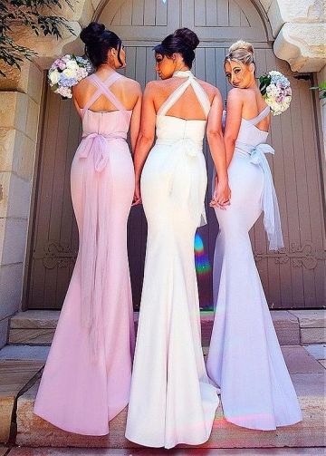 Excellent Tulle & Acetate Satin Sweetheart Neckline Full Length Mermaid Bridesmaid Dresses