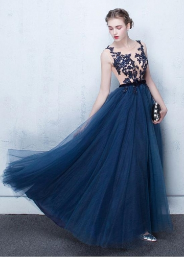 Fascinating Tulle Bateau Neckline A-line Evening Dresses With Lace Appliques & Beadings