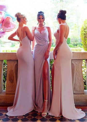 Eye-catching Spaghetti Straps Neckline Floor-length Sheath/Column Bridesmaid Dresses With Slit