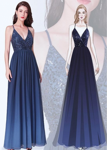 Beautiful Sequin Lace & Chiffon Halter Neckline Floor Length A-line Bridesmaid Dresses