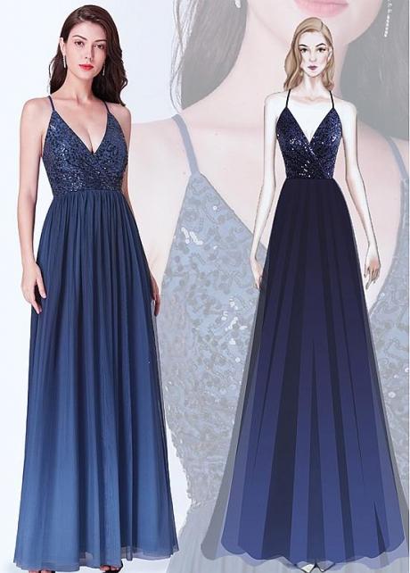 Beautiful Sequin Lace & Chiffon Halter Neckline Floor Length A-line Bridesmaid Dresses