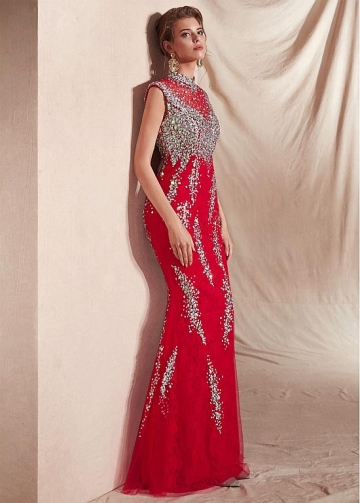 Stunning Lace High Collar Cap Sleeves Mermaid Evening Dresses With Beadings