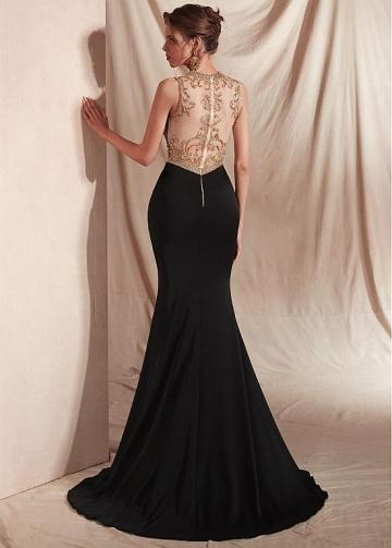 Beautiful Spandex Jewel Neckline Mermaid Prom Dresses With Beadings