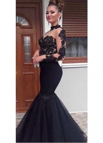 Brilliant Tulle & Satin High Collar Floor-length Mermaid Evening Dresses With Beaded Lace Appliques & Rhinestones