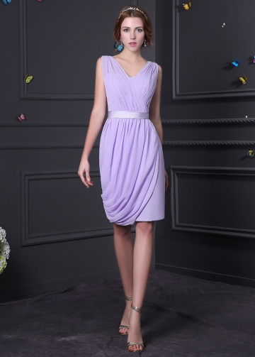 Elegant Chiffon V-neck Neckline Knee-length Sheath Bridesmaid Dress